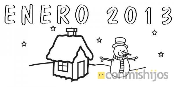 para niños. Pinta este calendario de Enero de 2013 con los niños