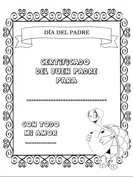 Dibujos para colorear. Certificado Día del Padre