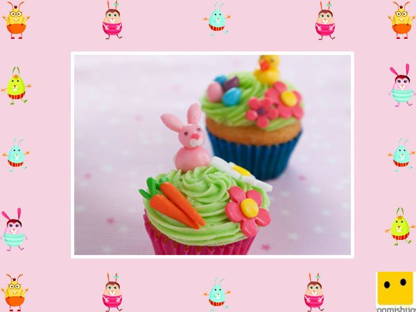 Decoración de muffins de Pascua. Muffins animados