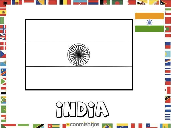 Bandera de India. Dibujos de banderas para pintar