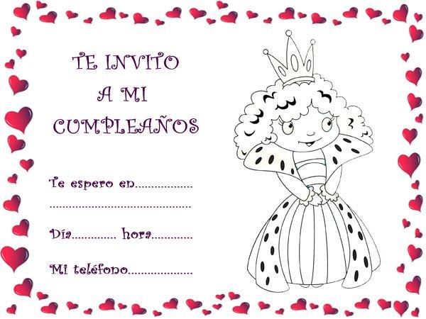 Dibujos De Comunion Para Imprimir Y Colorear: Tarjetas De Cumpleaños Princesas Para Rellenar E Imprimir