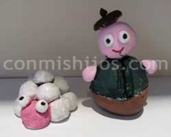 Figuras para Belén de plastilina. Pastor con ovejas
