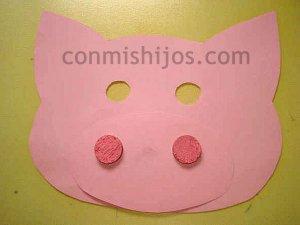 Máscara de cerdito. Manualidades de disfraces para niños