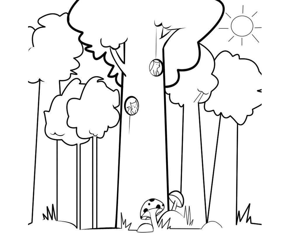 Imagen infantil de ardillas en el bosque para colorear