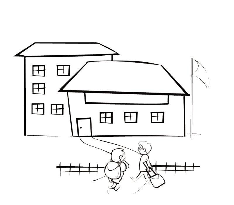 Niños entrando al colegio, dibujo para pintar