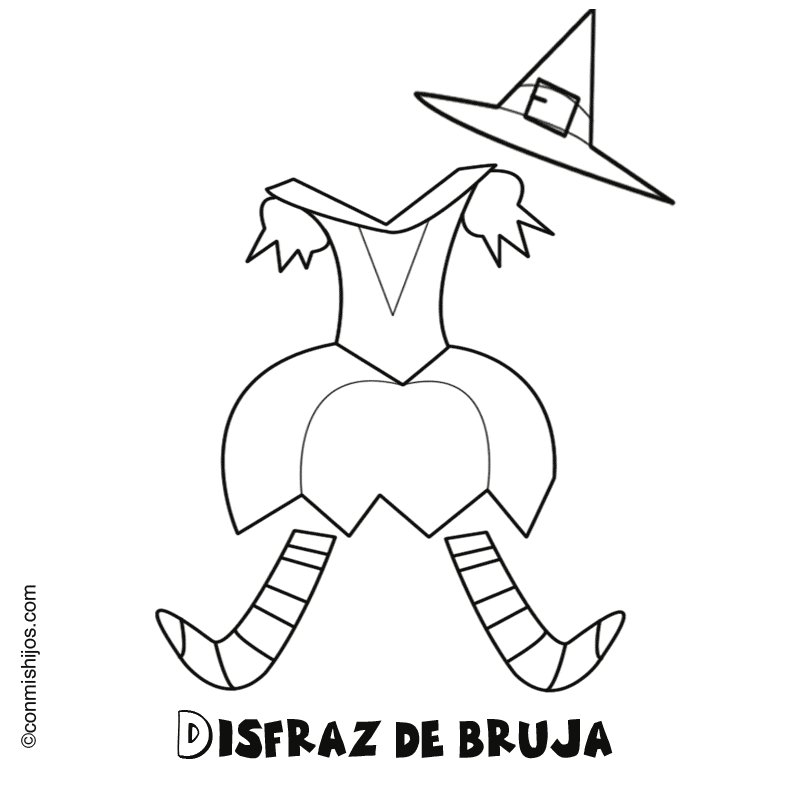 Imagen infantil para pintar de disfraz de bruja