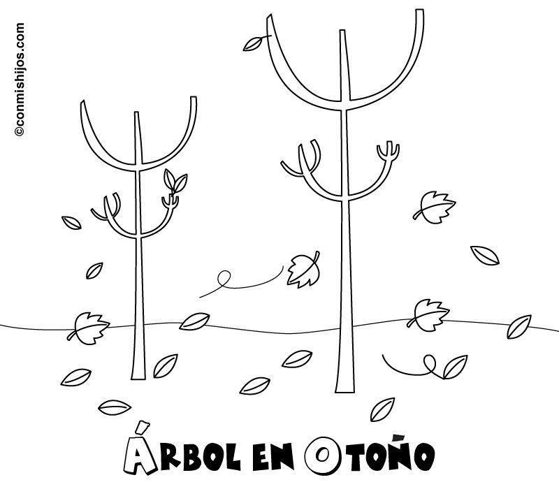 Imprimir: Árboles en otoño: Dibujos para colorear