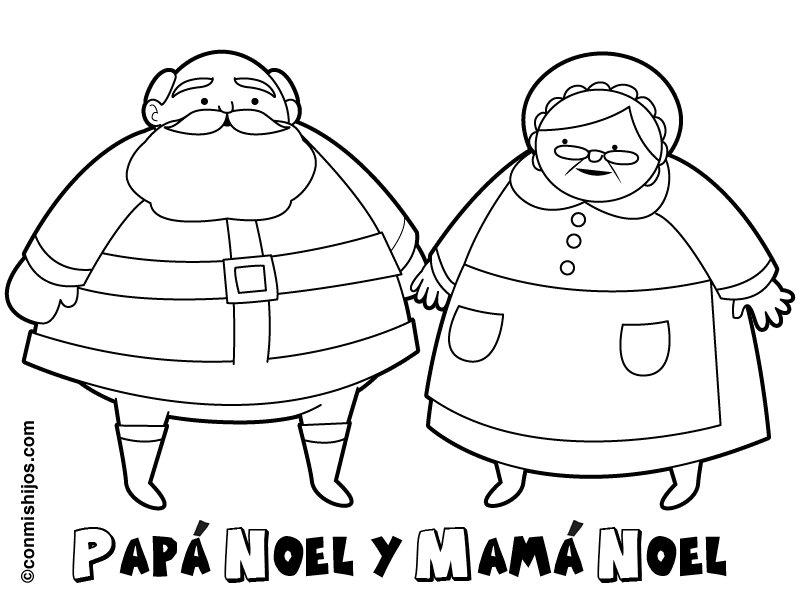 Papá Y Mamá Noel Dibujos Para Imprimir Y Colorear