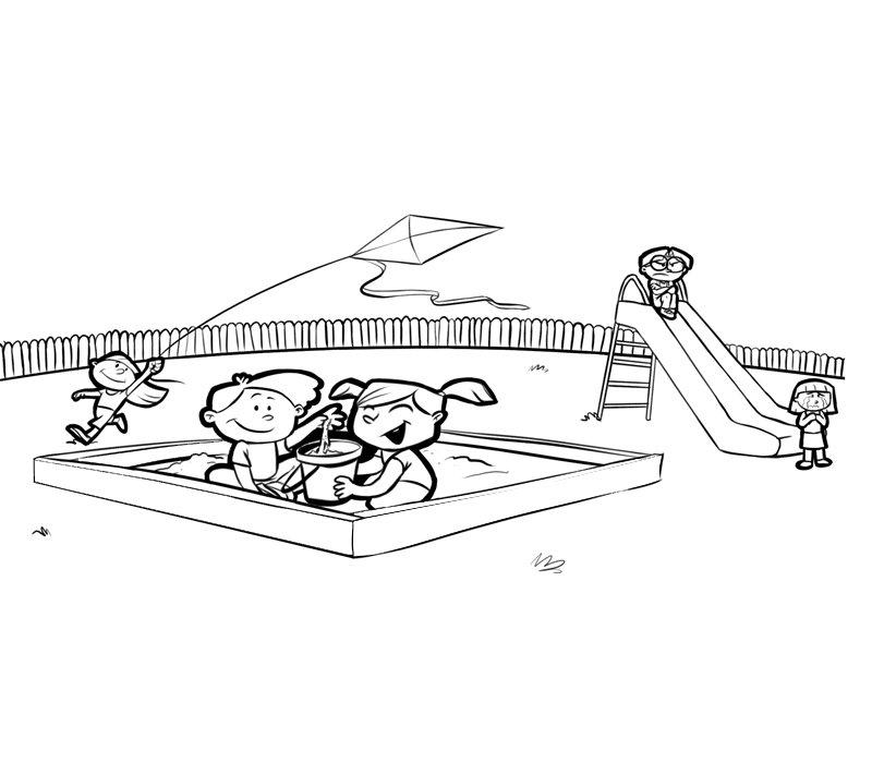 Dibujo para imprimir y colorear de niños jugando en el parque