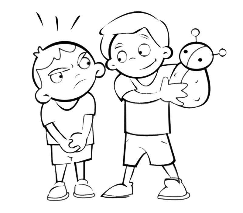 Niños peleando. Dibujo para imprimir y pintar