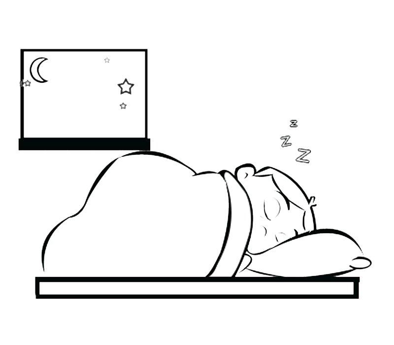Dibujo para colorear de niño durmiendo