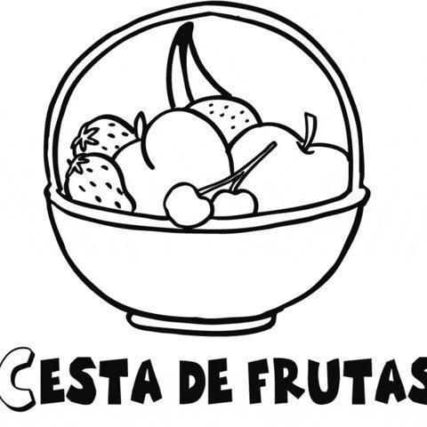 Imprimir: Dibujo de cesta de frutas para colorear con niños.