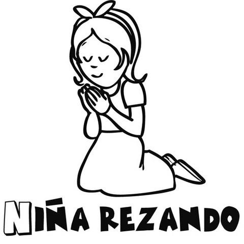 Niña Orando Colouring Pages