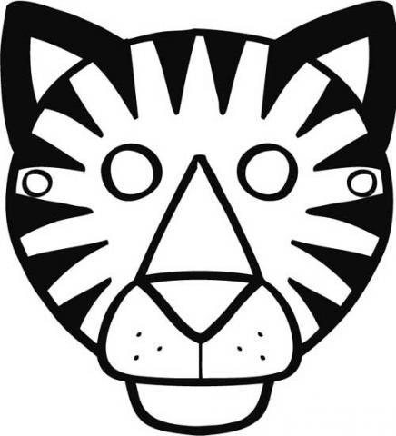 Dibujo de careta de tigre para Carnaval