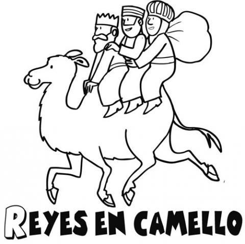 Dibujo de Navidad para colorear con los Reyes Magos en su camello