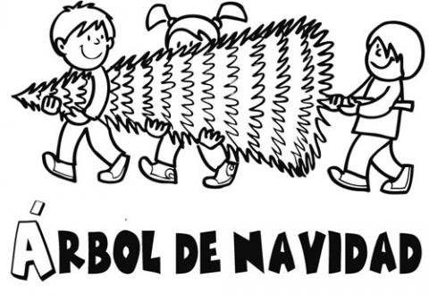 Imagen de ni os llevando rbol de navidad para pintar - Dibujo de navidad para ninos ...