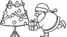 Árbol de Navidad y Papá Noel. Imagen para colorear