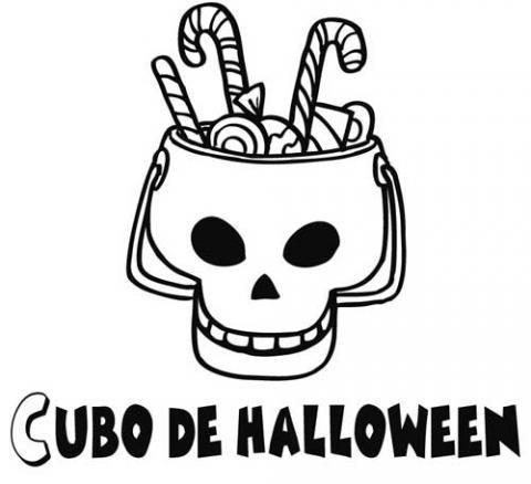 Dibujo infantil para pintar de cubo de Halloween