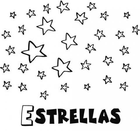 Dibujo gratuito de estrellas para pintar. Dibujos infantiles del espacio