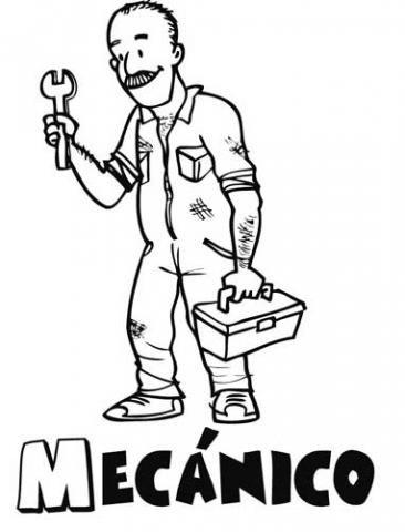 Dibujo de un mecánico para imprimir y pintar. Dibujos de profesiones