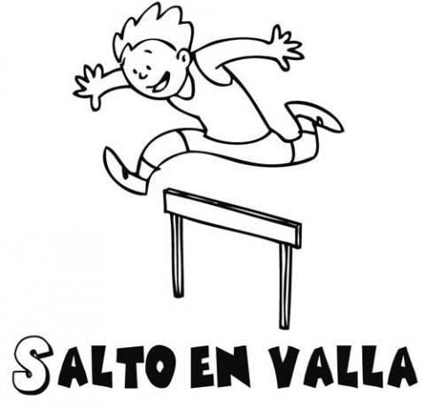 Dibujo de niño haciendo salto de vallas, imagen de deporte para pintar