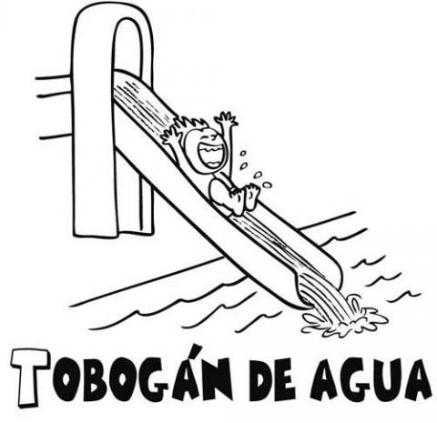 Tobog n dibujos para colorear for Modelos de piscinas con tobogan