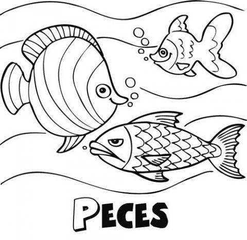 Peces nadando: Dibujos para colorear