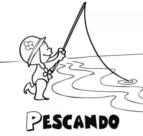 Niña pescando: Dibujos para colorear
