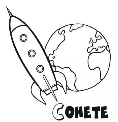 Cohete rodeando la tierra dibujos para colorear - Dibujos infantiles del espacio ...