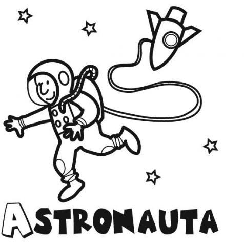 Dibujos de un astronauta explorando el espacio para colorear
