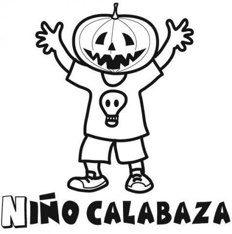 Ni o con cabeza de calabaza para colorear en halloween - Calabaza halloween para colorear ...