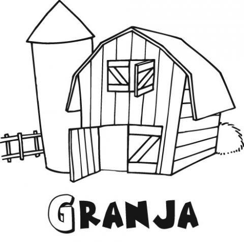 Dibujo infantil de granja para colorear con los niños