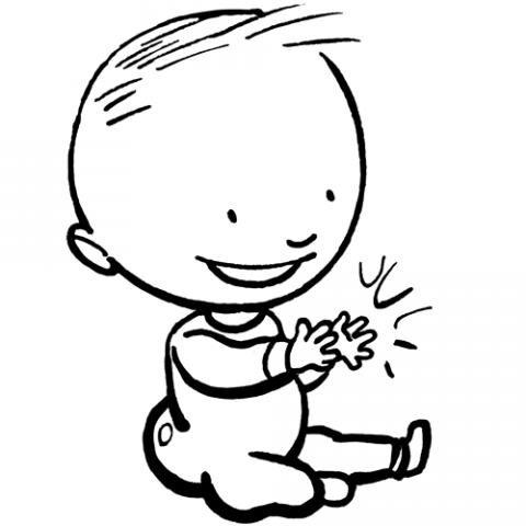 Dibujos de un bebé feliz para colorear por los niños