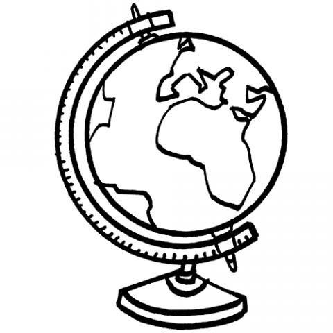 Dibujo para imprimir y colorear de un globo terráqueo
