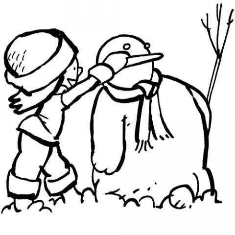 Mu eco de nieve con bufanda dibujo para colorear - Munecos de nieve para dibujar ...