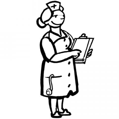 Dibujo de una enfermera para colorear con los niños