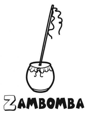 Zambomba: Dibujos para colorear