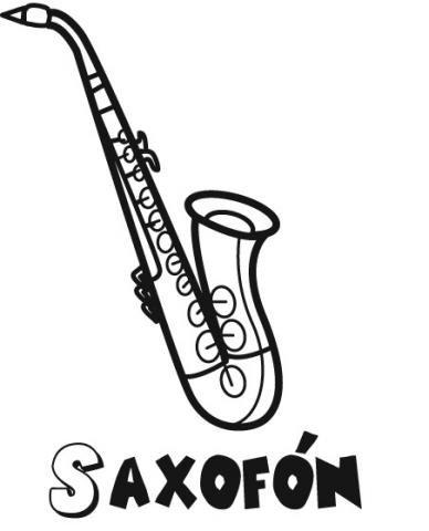 Dibujo de un saxofón, instrumento musical para imprimir y colorear