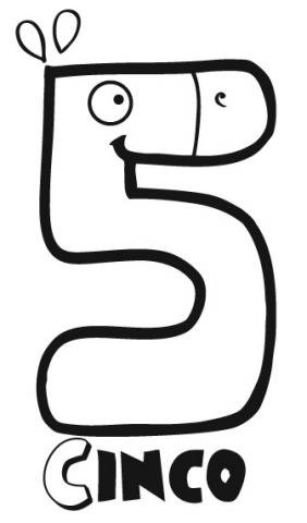 Dibujo del n mero cinco para colorear con los ni os - Como pintar numeros en la pared ...
