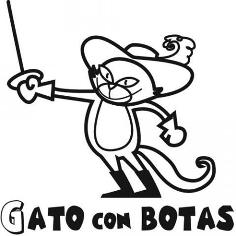 Dibujo para colorear de Gato con Botas. Dibujos de cuentos