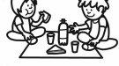 Dibujo gratis para colorear de niños de picnic en primavera