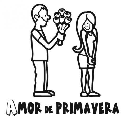 Imprimir: Amor en primavera: Dibujos para colorear