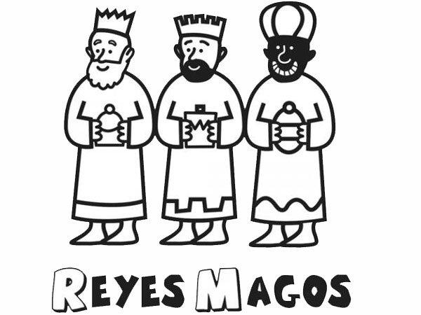 Dibujo para colorear con niños de los Reyes Magos en Navidad