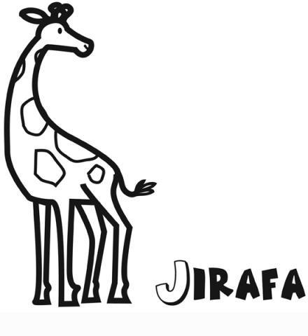 Dibujo infantil de jirafa para colorear. Dibujos de animales para niños