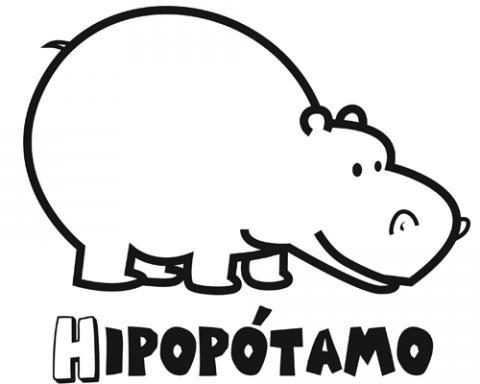 Dibujo de un hipopótamo para imprimir y pintar. Dibujos de animales