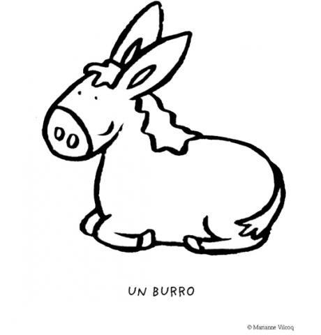 Imágenes de un burro para imprimir y colorear por los niños