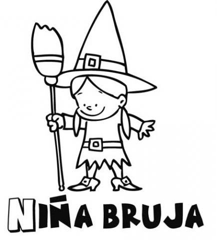 Dibujo infantil de niña bruja para colorear