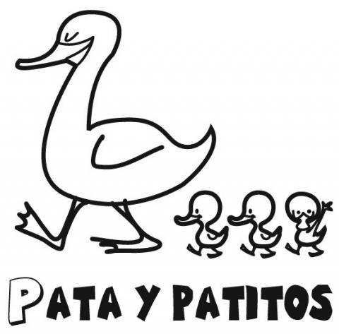 Dibujo para pintar de mamá pata y sus patitos. Dibujos de ...