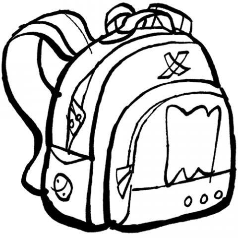 Dibujo de mochila decorada para colorear. Dibujos para el colegio