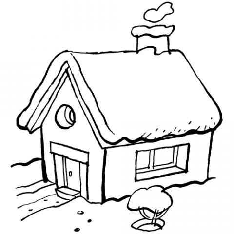 Dibujo de una cabaña con chimenea para niños